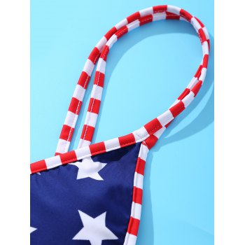 American Flag Printing Spaghetti Strap With Bikini Suit For Women - RED/WHITE/BLUE L