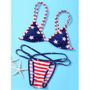 American Flag Printing Spaghetti Strap With Bikini Suit For Women