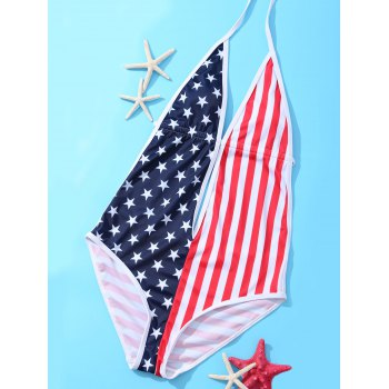 Trendy Backless Hit Color Plunging Neck Flag Star One Piece Swimwear Women's