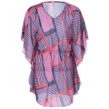Fashionable Women's Slimming V-Neck Geometric Print Dress