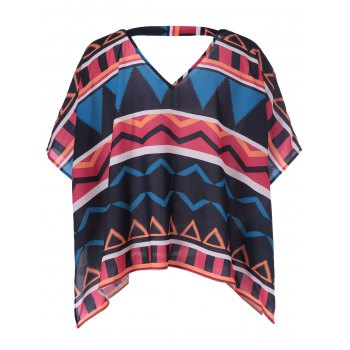 Retro Style Women's Loose-Fitting V-Neck Geometric Print Blouse - COLORMIX XL