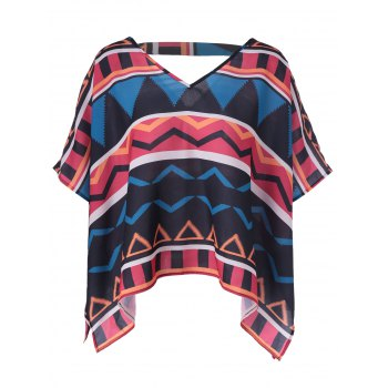 Retro Style Women's Loose-Fitting V-Neck Geometric Print Blouse