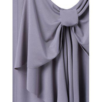 Stylish Pure Color Bowknot Dress For Women - GRAY L
