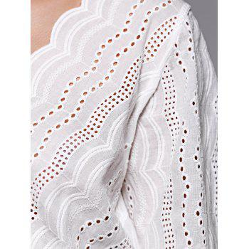 Trendy Hollow Out White V Neck Blouse - S S