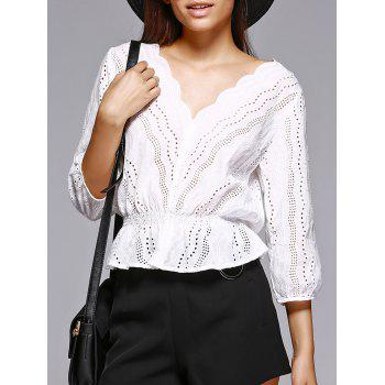 Trendy Hollow Out White V Neck Blouse