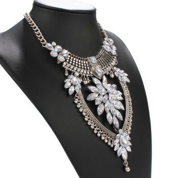 Statement Alloy Water Drop Rhinestone Necklace - SILVER
