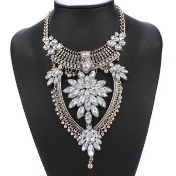 Statement Alloy Water Drop Rhinestone Necklace