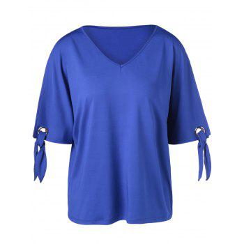 Elegant V-Neck Loose-Fitting Cold Shoulder T-Shirt For Women