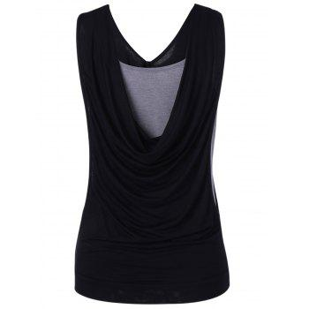 Simple Women's Fitted Pleated Cowls Openwork Tank Top