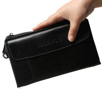 Stylish Letter and Zip Design Men's Clutch Bag - BLACK