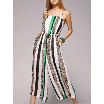 Fashioable Vertical Printing Spaghetti Strap Jumpsuit For Women