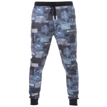 3D Jeans Pattern Lace-Up Beam Feet Men's Pants