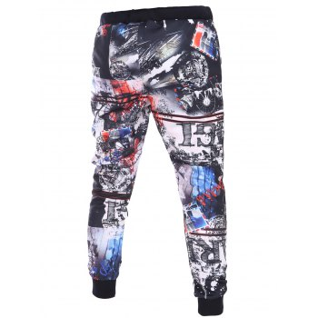 3D Abstract Print Lace-Up Beam Feet Men's Pants - COLORMIX 2XL