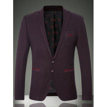 Lapel Long Sleeve Polka Dot Single Breasted Men's Blazer