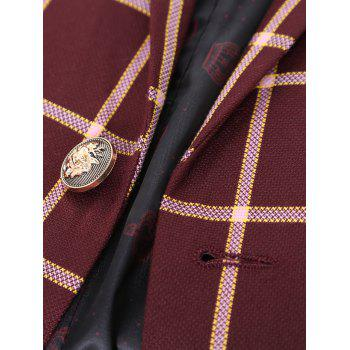 Lapel Long Sleeve One Button Design Checked Men's Blazer - WINE RED 2XL