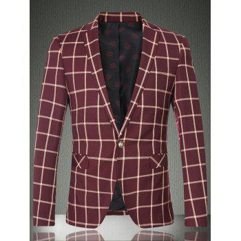 Lapel Long Sleeve One Button Design Checked Men's Blazer