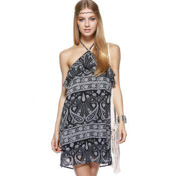 Bohemian Halter Printing Flounce Dress For Woman - Noir XL