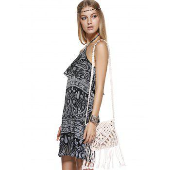 Bohemian Halter Printing Flounce Dress For Woman - BLACK XL
