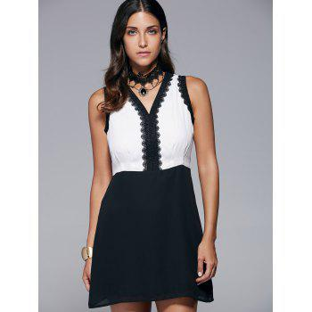 Stylish Lace Spliced V-Neck Sleeveless Dress For Women - WHITE/BLACK M