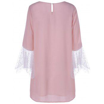 Fashionable Jewel Neck Laced Pink Dress For Women - PINK L