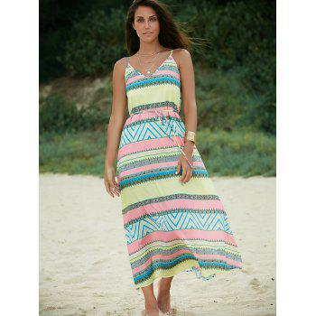Chic Spaghetti Strap Neon Print Back Cut Out Maxi Dress For Women