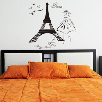 Noveltly Decoration Paris Tower Walking Dog Girl Design Wall Art Sticker