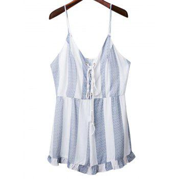 Fashion Spaghetti Straps Lace Up Striped Romper For Women