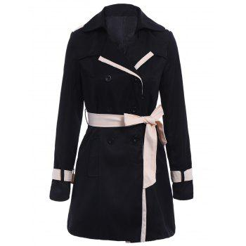 Casual Long Sleeve Turn-Down Collar Spliced With Belt Women's Trench Coat