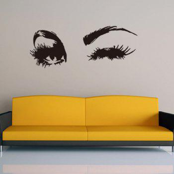 Novelty Home Decoration Girl's Eyes Design Removable Wall Art Sticker - BLACK