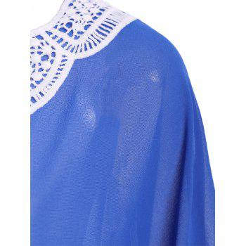 Contrast Crochet Chiffon Kaftan Cover Up - BLUE ONE SIZE(FIT SIZE XS TO M)
