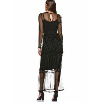 Simple Black Sundress and Mesh See-Through Layered Dress Twinset - BLACK XL