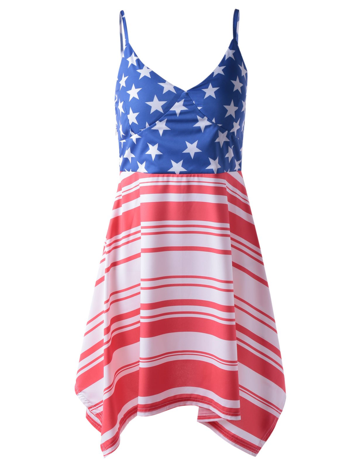 Fashionable Woman's Americana Flag Printing Spaghetti Strap Asymmetric Dress - RED/WHITE/BLUE XL