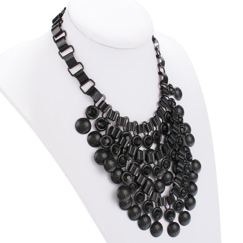 Bubble Alloy Pendant Necklace - BLACK