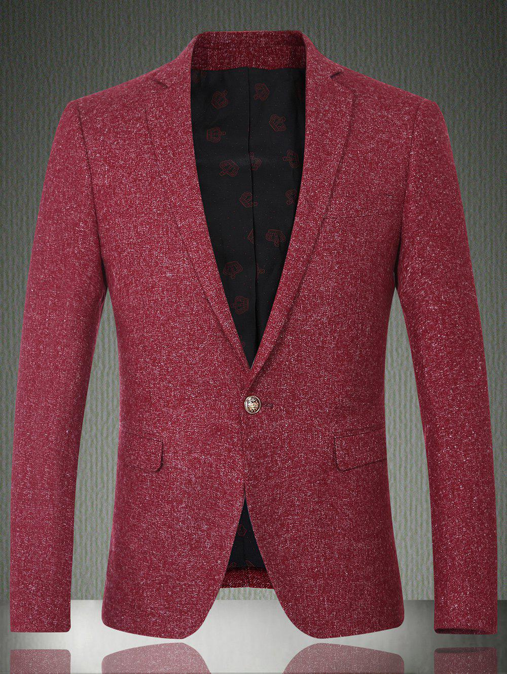 Lapel Long Sleeve One Button Design Solid Color Men's Blazer - WINE RED 2XL