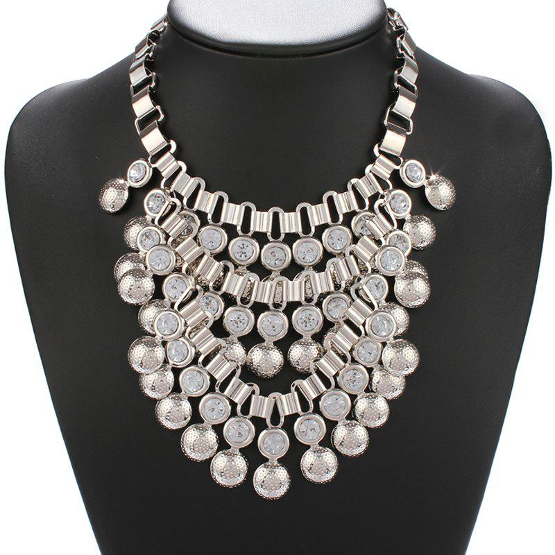 Statement Silver Alloy Ball Stud Rhinestone Necklace - SILVER