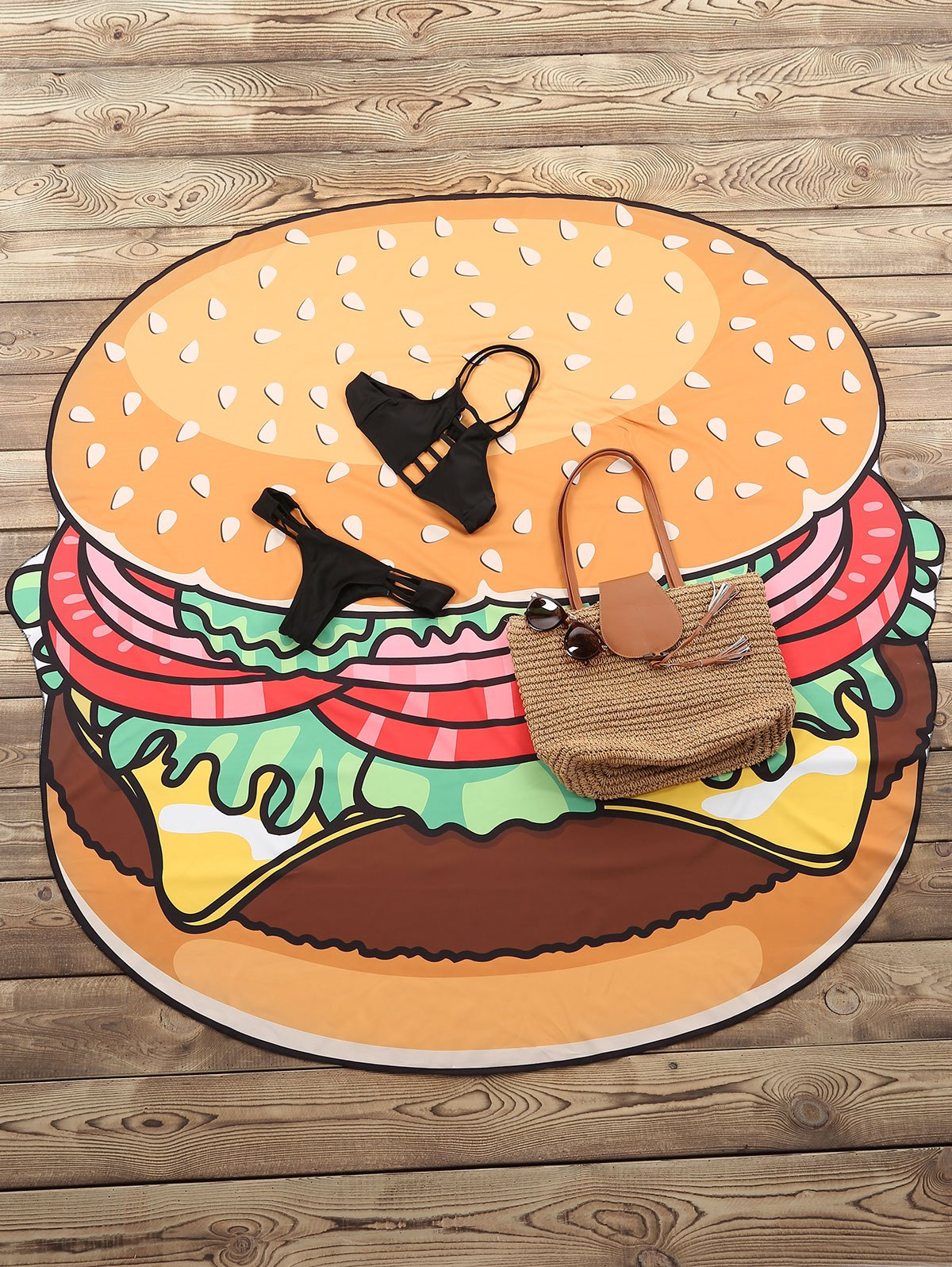 Cute Hamburger Pattern Beach Throw For Women - YELLOW ONE SIZE(FIT SIZE XS TO M)