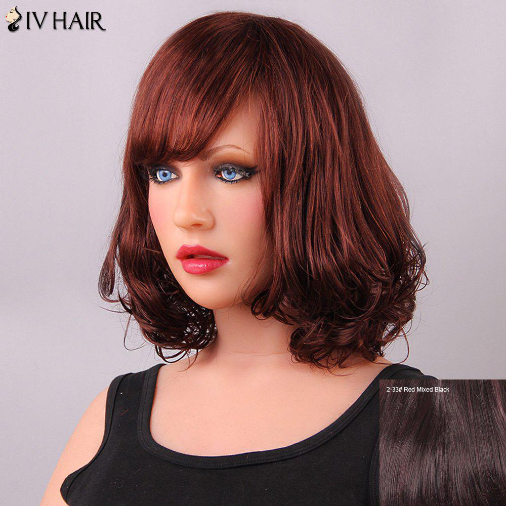 Charming Medium Tail Adduction Side Bang Women's Siv Human Hair Wig - RED MIXED BLACK