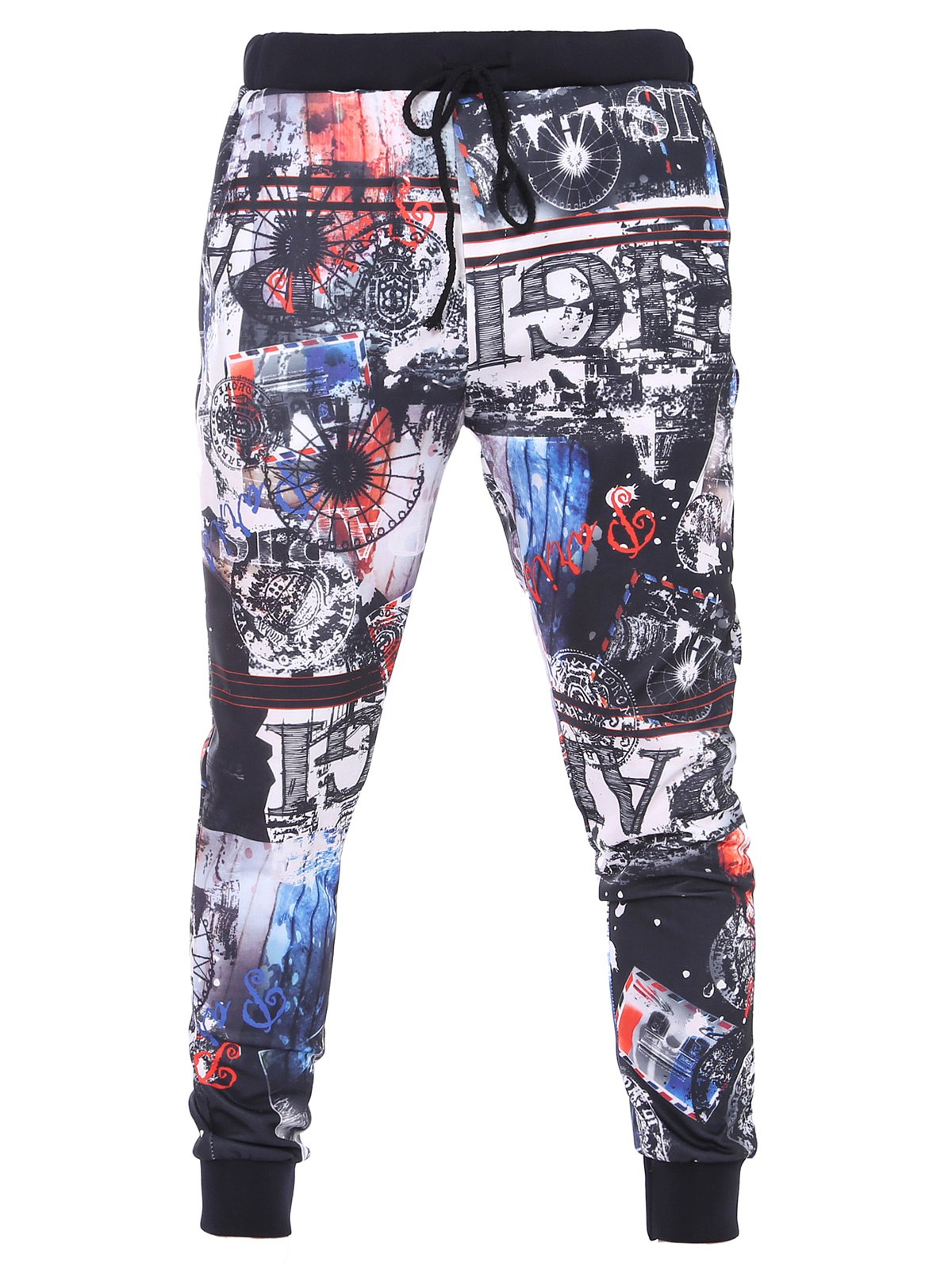 3D Abstract Print Lace-Up Beam Feet Men's Pants