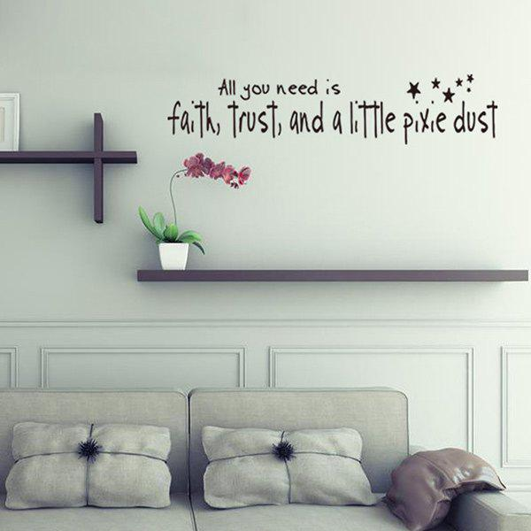 Simple Style Home Decoration DIY Proverbs Stars Embellished Wall Art StickerHome<br><br><br>Color: BLACK