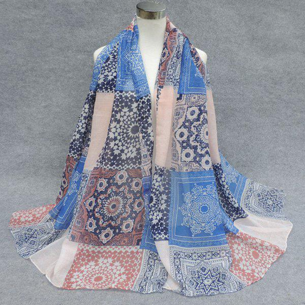 Stylish Ethnic Style Snowflake Tracery Patchwork Pattern Women's Voile Scarf - BLUE