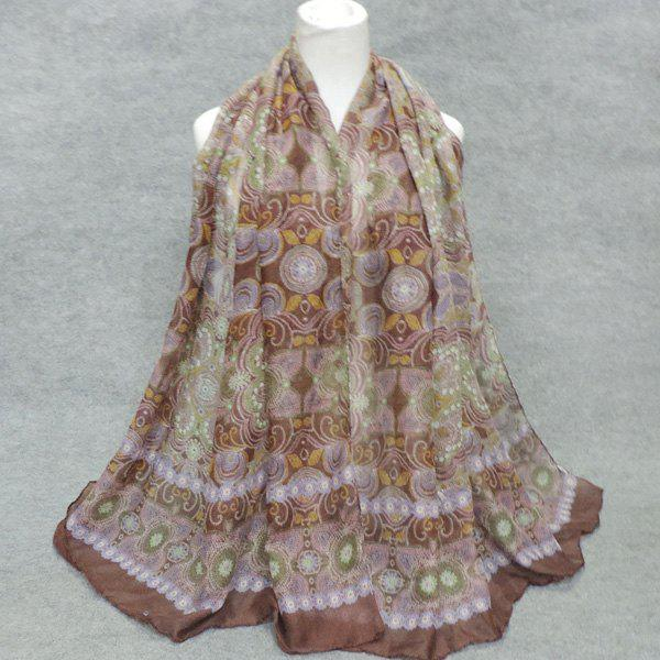 Stylish Retro Indian Style Printed Women's Voile Scarf - COFFEE