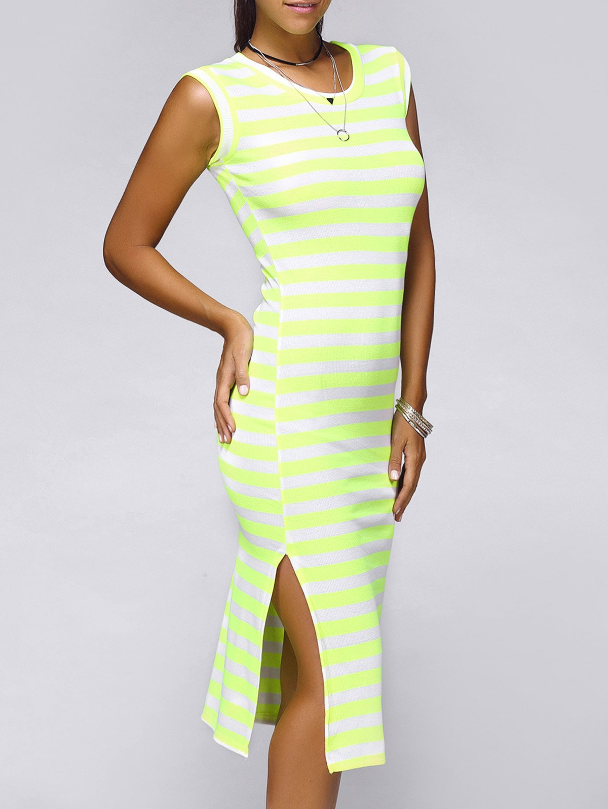 Brief Sleeveless Striped Side Slit Women's Dress - FLUORESCENT YELLOW ONE SIZE(FIT SIZE XS TO M)