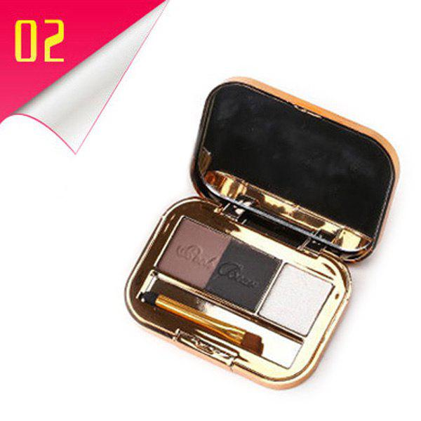 Cosmetic 3 Colours Long Lasting Smooth Eyebrow Powder Palette with Mirror and Brush