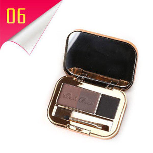 Cosmetic 3 Colours Long Lasting Smooth Eyebrow Powder Palette with Mirror and Brush -