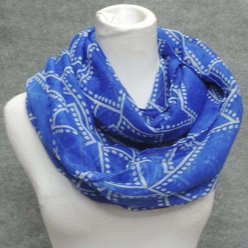 Stylish Polka Dot and Rectangle Plaid Printed Women's Voile Circle Hoop Scarf - BLUE