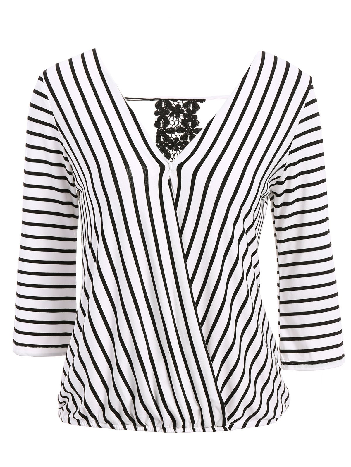 Sexy V-Neck 3/4 Sleeve Hollow Out Striped Women's Blouse - WHITE ONE SIZE(FIT SIZE XS TO M)
