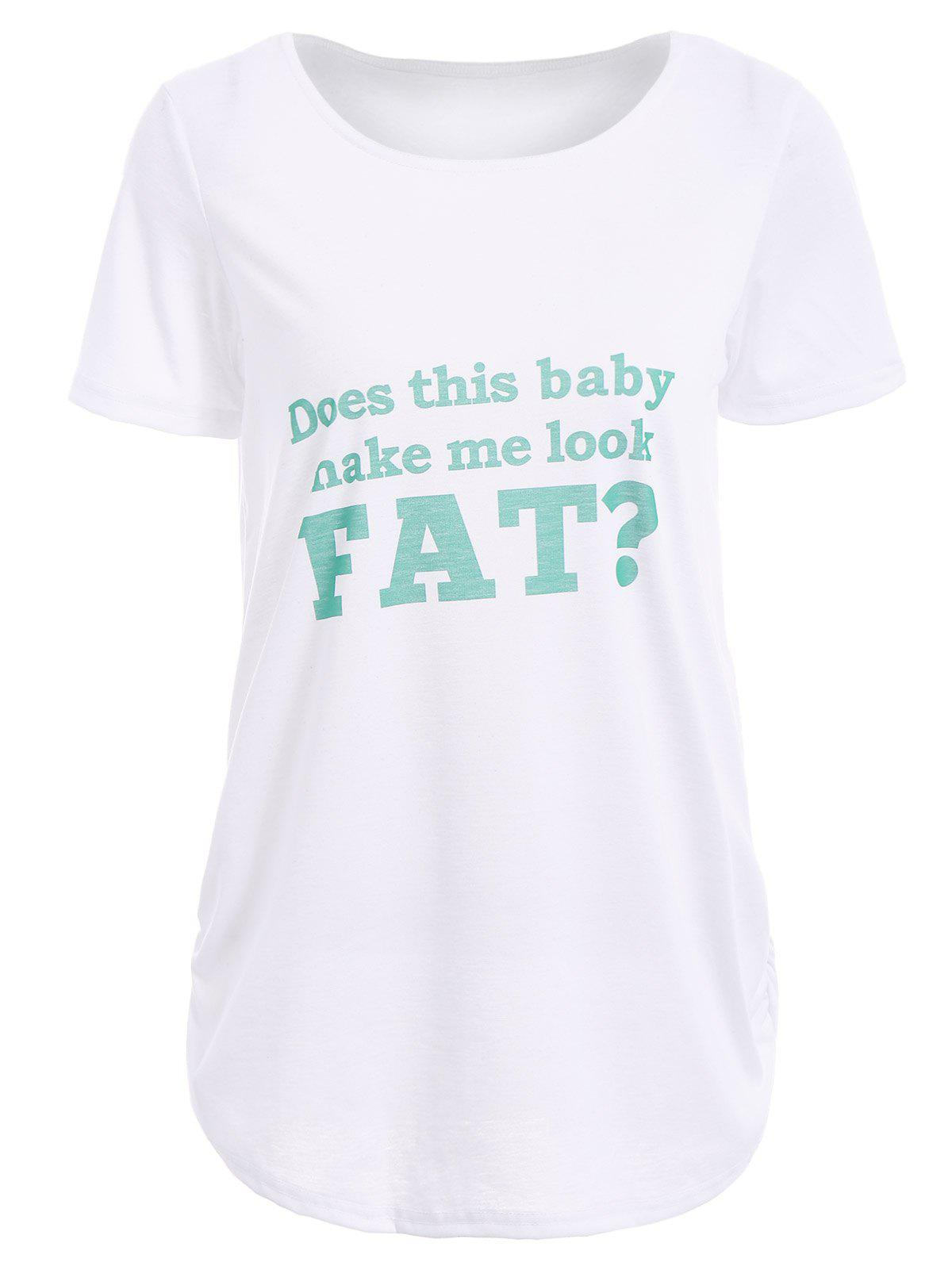 Casual Short Sleeve Round Neck Green Letter Print Women's T-Shirt - WHITE/GREEN M