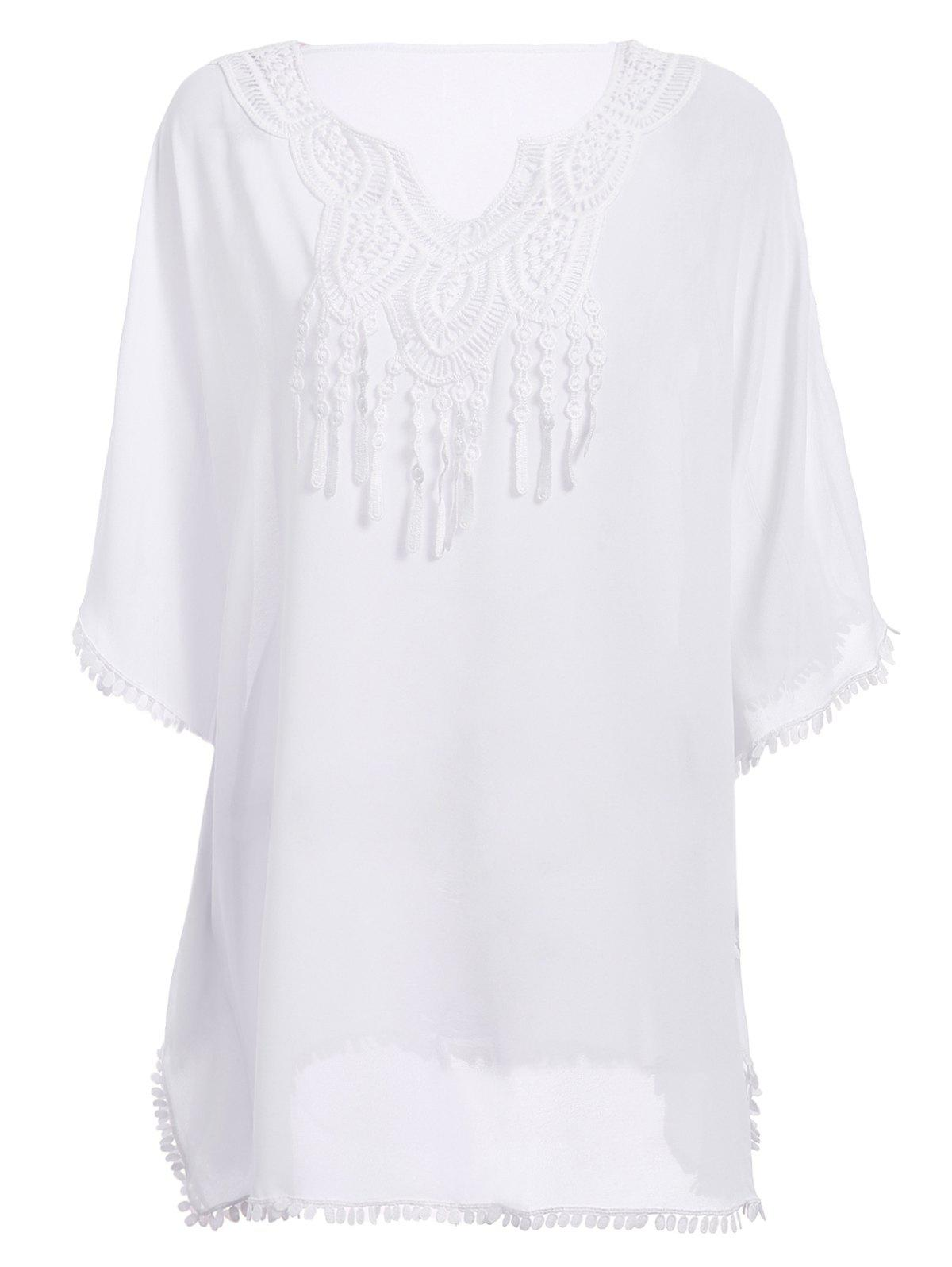 Chic Batwing Sleeve Notched Neck Macrame Spliced Women's Cover Up - WHITE ONE SIZE(FIT SIZE XS TO M)