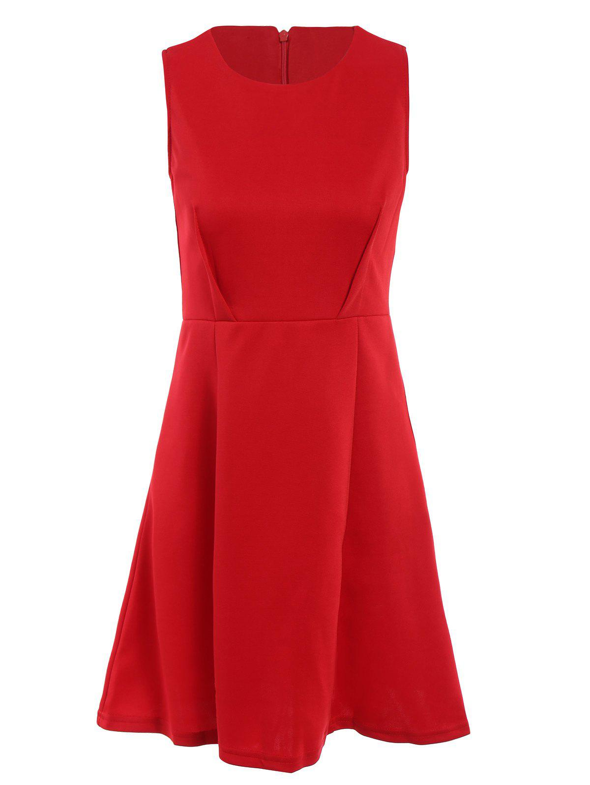 Christmas Women's Scoop Neck Sleeveless Solid Color A-Line Dress - RED S