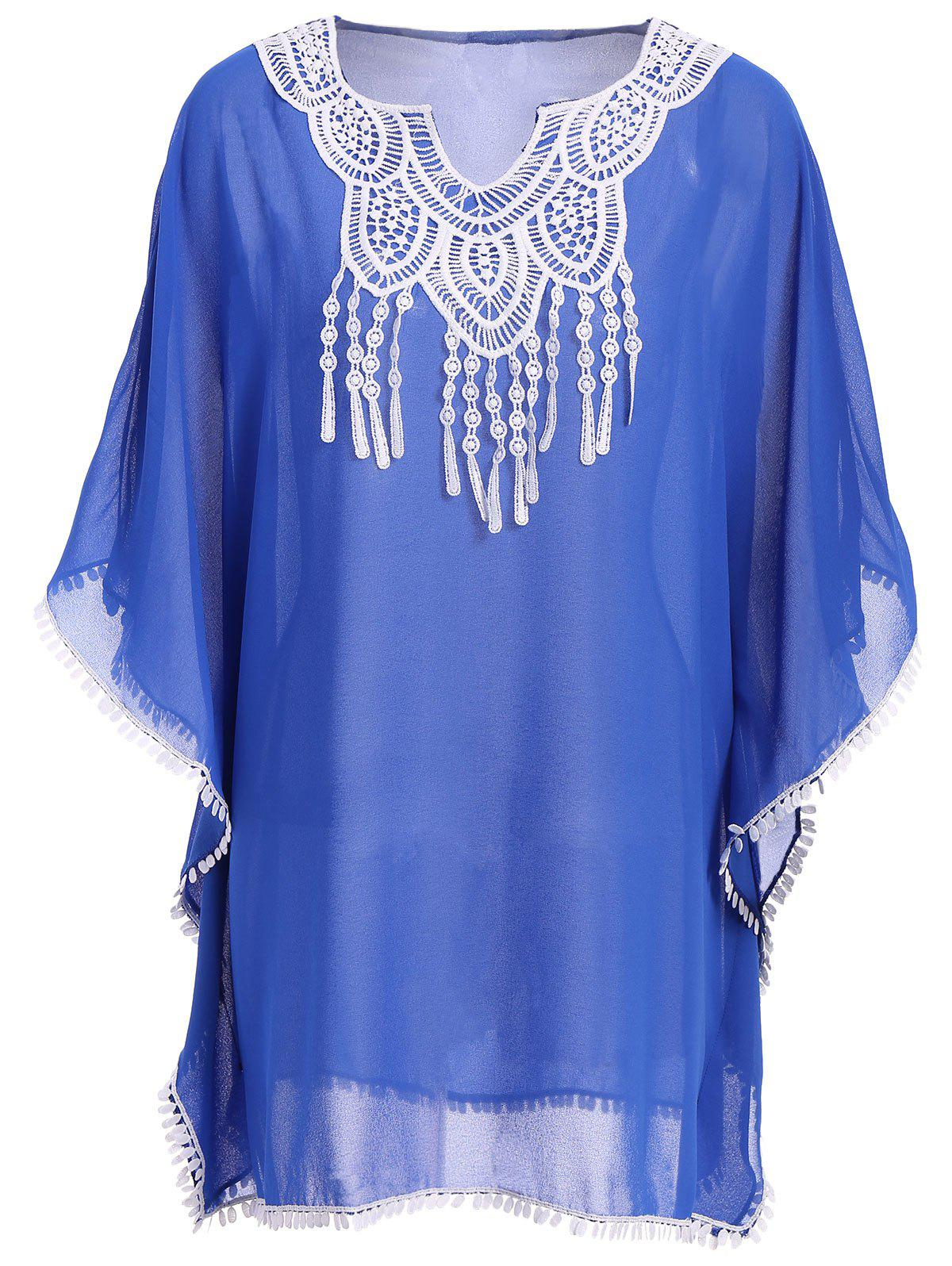 Chic Batwing Sleeve Notched Neck Macrame Spliced Women's Cover Up - BLUE ONE SIZE(FIT SIZE XS TO M)
